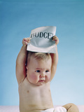 1960s Baby Holding Budget Sign Above His Head Photographic Print
