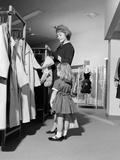 1960s Mother and Daughter Shopping for Clothes in Aisle of Department Store Photographic Print