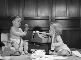 1960s 2 Babies in Diapers One on Chair with Telephone Other on Floor with Adding Machine Photographic Print