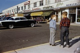 Boys Standing Alongside Strip Mall Parking Lot Photographic Print by William Gottlieb