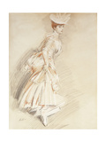 An Elegant Lady, Standing Full-Length Giclee Print by Paul Cesar Helleu