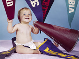 1960s Smiling Happy Baby with College Pennants Holding Cheerleader Megaphone Photographic Print