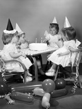 1960s Girl Quadruplets Having Second Birthday Party Photographic Print