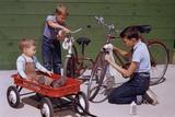 Boys Cleaning their Bikes Reprodukcja zdjęcia autor William P. Gottlieb
