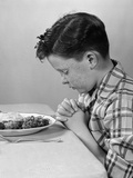 1950s Boy Child Praying at Table Dinner Photographic Print