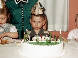 Grumpy Boy at Fifth Birthday Party, Ca. 1957 Photographic Print