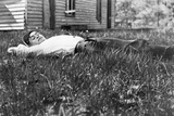 Young Man Lays in the Grass, Ca. 1912 Reproduction photographique