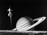 1960s Space Rocket Flying Past Saturn with Surface of Another Planet in Foreground Photographic Print