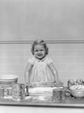 1940s Blond Girl Baking Playing Rolling Pin Flour Dough Photographic Print