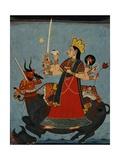 Mandi School Painting of Durga Slays Mahishasura Giclee Print