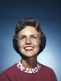 1960s Smiling Woman Looking Up Photographic Print