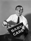 1960s Man Father Holding Baby Care Book Photographic Print