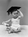1940s Baby Wearing Mortar Board Graduation Cap and Holding Diploma Photographic Print