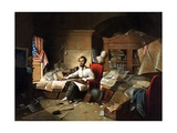 President Lincoln Writing the Proclamation of Freedom Giclee Print