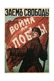 Poster of Russian Soldier with Flag Giclee Print by N. Tyrkurr