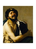 A Laughing Bravo with a Dog Giclee Print by Hendrick Terbruggen