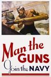 Man the Guns - Join the Navy Recruitment Poster Giclée-Druck von McClelland Barclay
