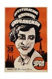 Russian Movie Poster Depicting a Woman Smoking a Cigarette Giclee Print