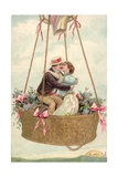 Postcard with Couple Kissing in Hot Air Balloon Giclee Print
