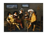 Gentlemen Smoking and Playing Backgammon in an Interior Lámina giclée por Dirck Hals