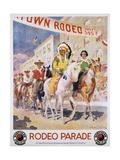 Rodeo Parade Northern Pacific Railroad Poster Reproduction procédé giclée par Edward Brener