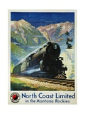 North Coast Limited in the Montana Rockies Poster Giclee Print by Gustav Krollmann