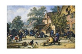 A Village Street with Skittle Players and Merrymakers Giclee Print by Cornelis Dusart