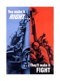 You Make it Right...They Make it Fight Poster Giclee Print by Bernard Perlin