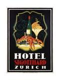 Hotel St. Gotthard Zurich Poster Giclee Print by Otto Baumberger