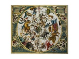 Celestial Planisphere Showing the Signs of the Zodiac from the Celestial Atlas Reproduction procédé giclée par Andreas Cellarius