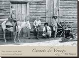 Four Farmers and a Mule Stretched Canvas Print by Chris Simpson