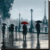 Paris Red Umbrella Stretched Canvas Print by Robert Canady