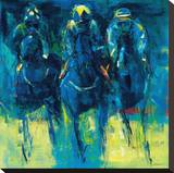 Racehorses - Blue Stretched Canvas Print by Neil Helyard