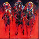 Racehorses - Red Stretched Canvas Print by Neil Helyard
