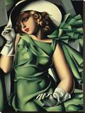 Young Lady with Gloves Stretched Canvas Print by Tamara de Lempicka