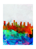 Houston Watercolor Skyline Print by  NaxArt