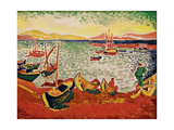 Boats in the Harbour at Collioure, 1905 Gicléetryck av Andre Derain