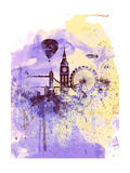 London Watercolor Skyline Art by  NaxArt