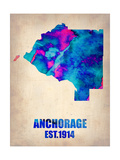 Anchorage Watercolor Map Posters by  NaxArt