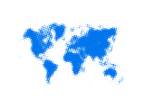 Blue Dotted World Map Print by  NaxArt
