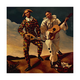 Harlequin and Pierrot, 1924 Giclee Print by Andre Derain