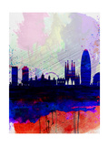 Barcelona Watercolor Skyline 2 Art by  NaxArt