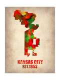 Kansas City Watercolor Map Art by  NaxArt
