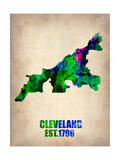 Cleveland Watercolor Map Posters by  NaxArt