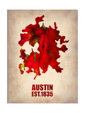Austin Watercolor Map Posters by  NaxArt