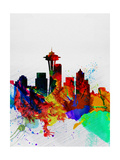 Seattle Watercolor Skyline 2 Poster von  NaxArt