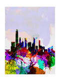 Hong Kong Watercolor Skyline Art by  NaxArt