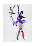Two Dancing Ballerinas Watercolor 4 Posters par Irina March