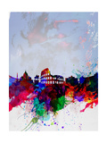 Rome Watercolor Skyline Posters by  NaxArt