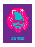 Dude Abides Purple Poster Print by Anna Malkin